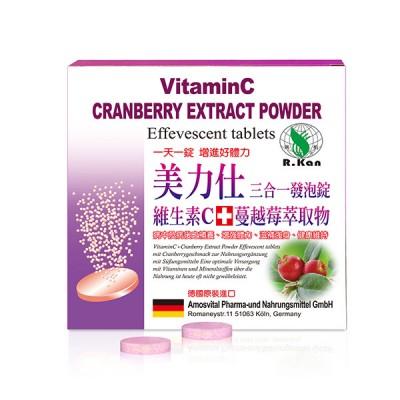 美力仕維生素C500+蔓越莓萃取物發泡錠 (三合一發泡錠) - 8錠